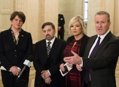 Arlene Foster, the UUP's Robin Swan and Sinn Féin's Michelle O'Neill and Conor Murphy give a press conference in Stormont.