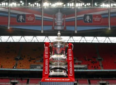 The FA Cup on display at Wembley.