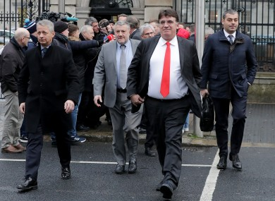 FAI Executive Lead Paul Cooke (grey suit) is flanked by a Uefa delegation at Leinster House last week.