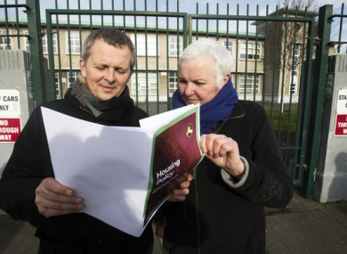 Richard Boyd Barrett and Bríd Smith at the launch of their housing policy.