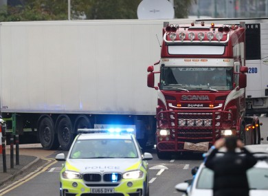 File photo of the lorry in which 39 people died.