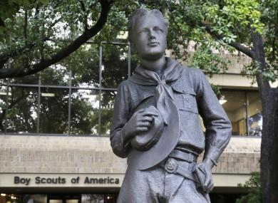 A statue outside the BSA headquarters in Irving, Texas.