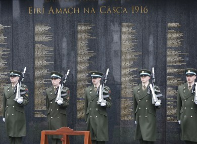 File photo. Soldiers at a remembrance ceremony in Glasnevin.