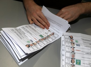File photo of ballot papers in the count centre after the Wexford by-election in November 2019.
