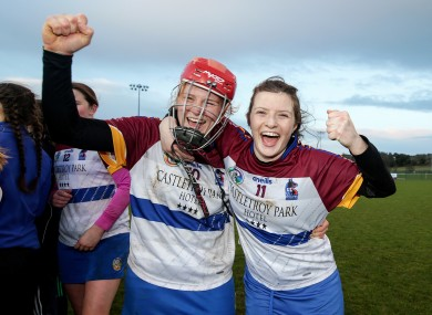 Beth Carton (left) celebrates with Roisin Howard.