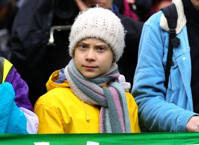 Greta Thunberg stands alongside fellow environmental activists for the Bristol Youth Strike 4 Climate protest