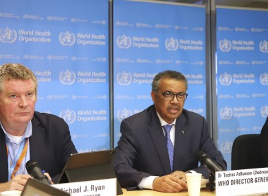 WHO director general Dr Tedros Adhanom Ghebreyesus giving the update today.