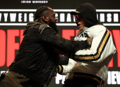 Wilder and Fury engaged in a shoving contest at Wednesday's press conference.