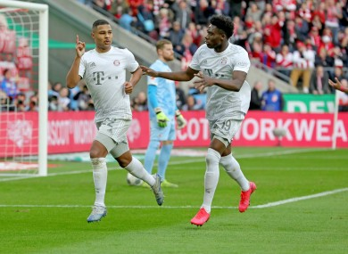 Serge Gnabry celebrates a goal.