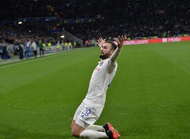 Lucas Tousart celebrates scoring the winning goal.