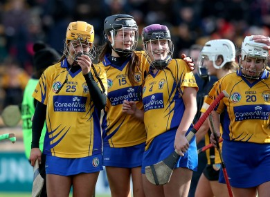 Clare's Lynda Daly, Sinead Conlon and Roisin Minogue celebrate after the game.
