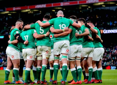 An Ireland huddle during the Six Nations clash with Wales.