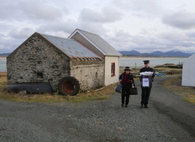 A ballot box being carried away from a polling station in 2016 on Inishbofin.