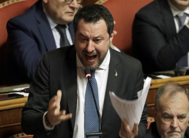 Salvini at the Italian Senate debate on whether to allow him to be prosecuted – as he demands to be - for alleging holding migrants hostage for days aboard coast guard ship Gregoretti instead of letting them immediately disembark in Sicily,