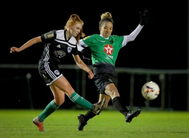 Peamount United's Louise Corrigan with Nadine Seward of Cork City (file pic).