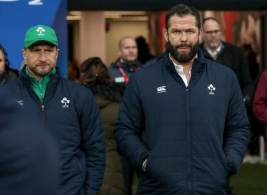 Farrell with attack coach Mike Catt in Twickenham.