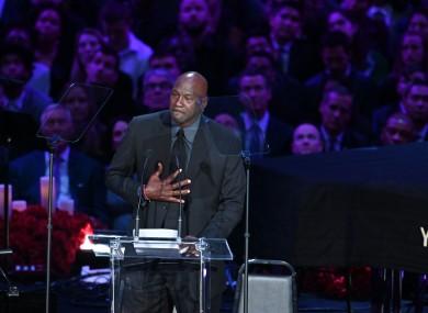 Michael Jordan tears up on stage.