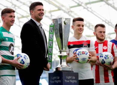 Niall Quinn, interim deputy FAI CEO, pictured with players at the League of Ireland launch day.