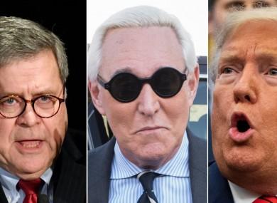 L-R: Attorney General William Barr, Roger Stone, Donald Trump.