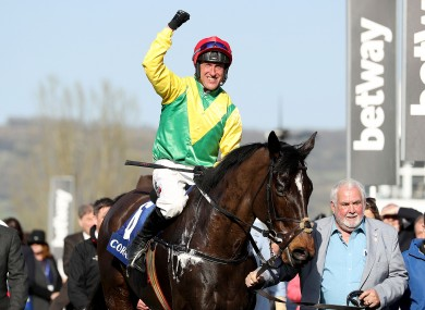 Robbie Power celebrates after Supasundae's victory at Cheltenham in 2017.