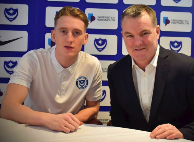Ronan Curtis at the announcement of his new contract with Tony Brown, Portsmouth FC's chief operating officer.