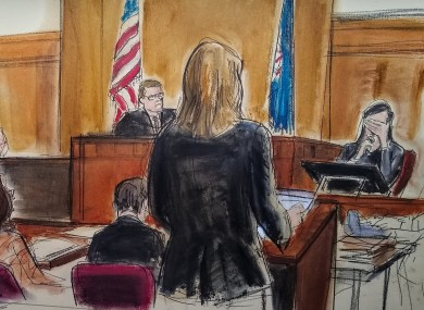 In this courtroom sketch, a witness weeps as she testifies during the Harvey Weinstein trial.