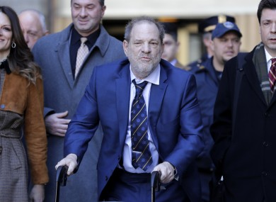 Harvey Weinstein leaving a Manhattan courthouse today.