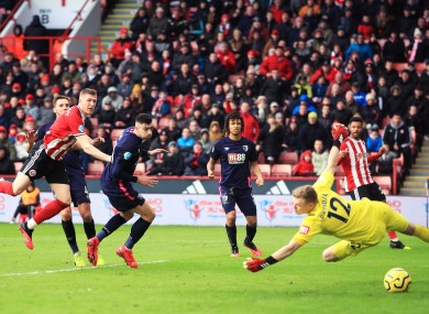 Sheffield United's John Lundstram scores his side's second goal of the game