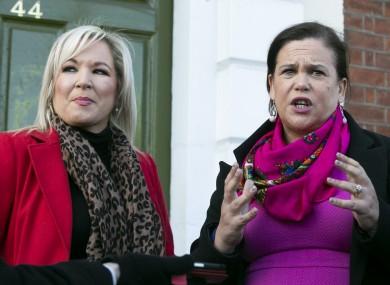 Sinn Féin's Mary Lou McDonald with deputy leader Michelle O'Neill.