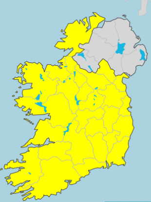 The Status Yellow warning will be in place for the country from 6am on Tuesday.