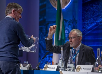 McCarthy casting a vote at 2020 GAA Congress, Croke Park.