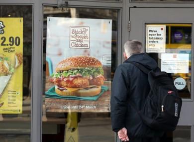 Outside a McDonald's fast food restaurant in Dublin.