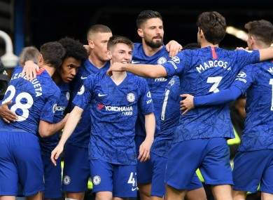 Chelsea players celebrate during the win over Everton