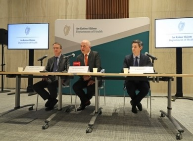Dr John Cuddihy, HSE director of public health, Chief Medical Officer Dr Tony Holohan, and Deputy Chief Medical officer Dr Ronan Glynn, during the press conference at Department of Health.