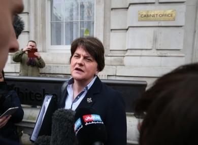 Arlene Foster speaking to the media in London earlier this week.
