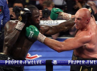 Deontay Wilder and Tyson Fury during their last fight.