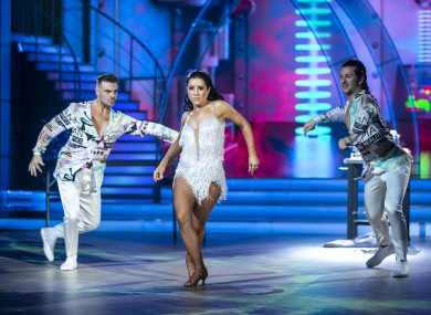 2FM Presenter Lottie Ryan and pro dancer Pasquale La Rocca and Ryan Mc Shane pictured during the final of Dancing with the stars.