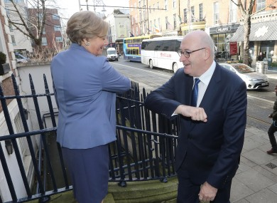 Commissioner Hogan and MEP Frances Fitzgerald rub elbows before a discussion at the Royal Irish Academy today.