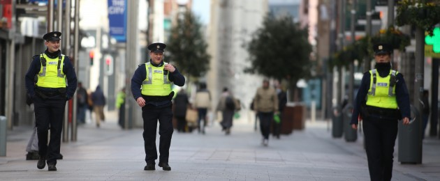 Gardai on patrol in with members of the public in Dublin city centre.