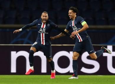 Neymar celebrates his goal.