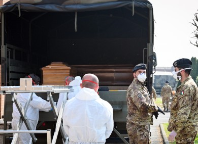 The convoys of the Italian Army from Bergamo transport the bodies of the deceased for Covid-19 to the cemetery of Ferrara