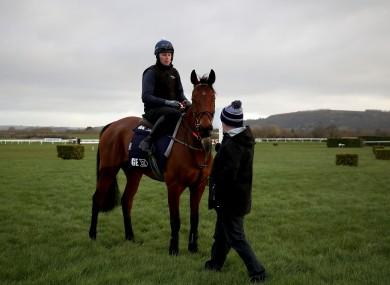Jockey Keith O'Donoghue on Envoi Allen with trainer Gordon Elliott at Cheltenham yesterday.