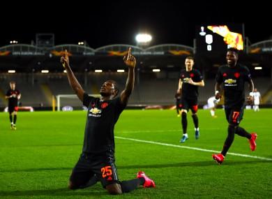 Manchester United's Odion Ighalo (centre-left) celebrates scoring.