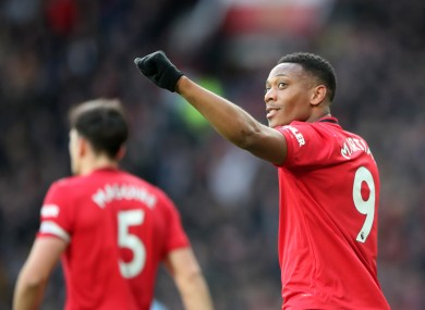 Anthony Martial celebrates his opening goal.