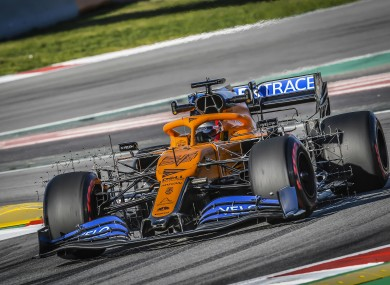 Carlos Sainz in a McLaren car during pre-season testing.
