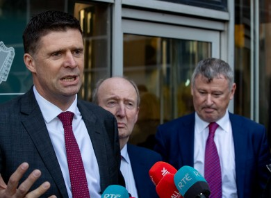 Niall Quinn, Shane Ross and interim CEO Gary Owens at the announcement of the government bailout of the FAI in January.