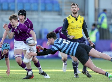 Clongowes Wood College's Oisin Devitt and Conor Delaney of Castleknock College.