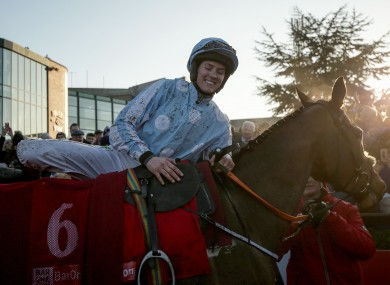 Rachael Blackmore celebrates on Honeysuckle after winning the Baroneracing.com Hatton's Grace Hurdle at Fairyhouse in December.