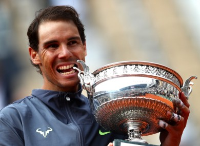 Rafael Nadal celebrating his 12th French Open title.