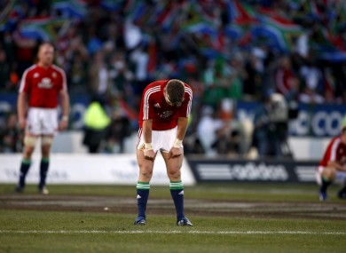 Ronan O'Gara dejected at the final whistle after the second test.